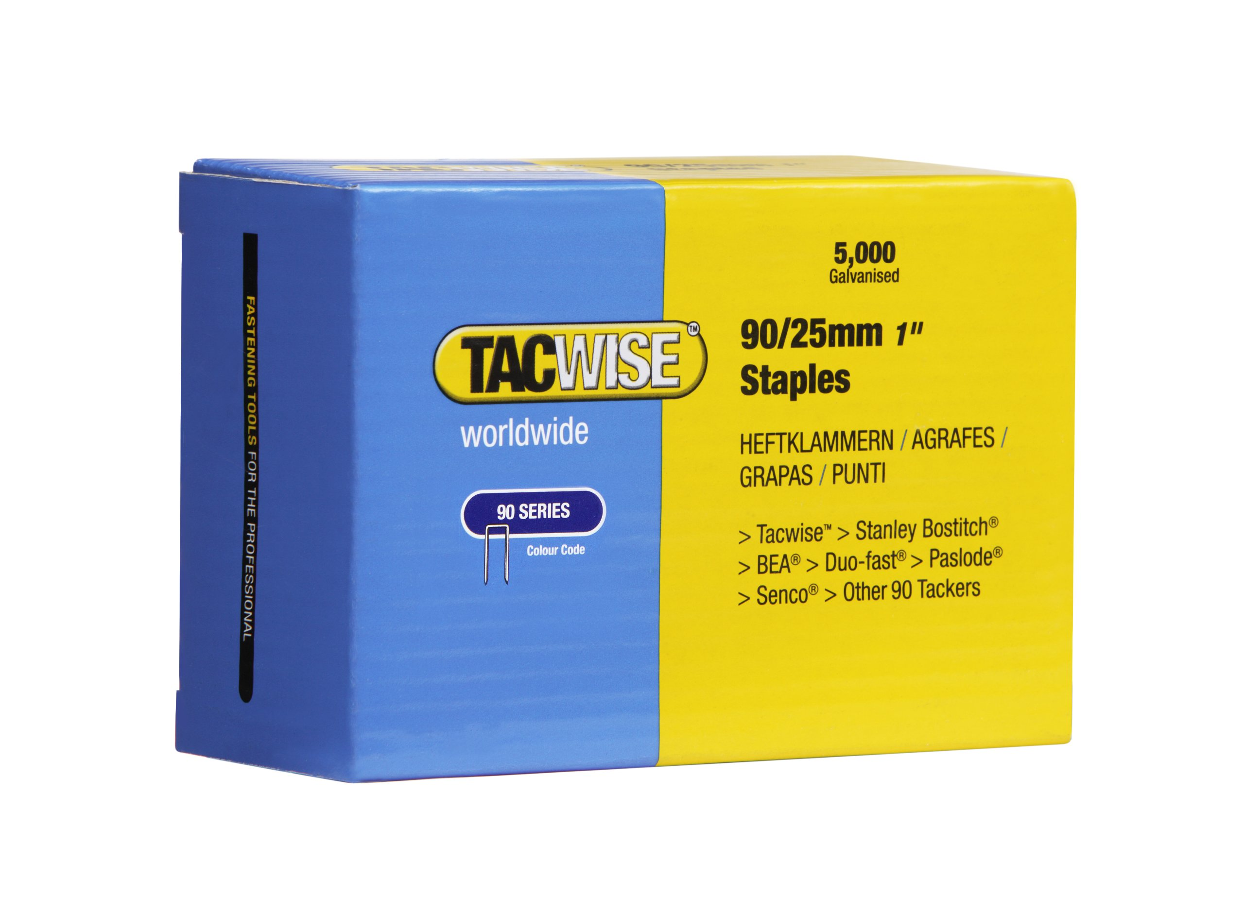Tacwise Narrow Crown Staples (Box Of 5000) 90/25Mm
