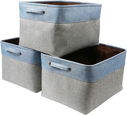 Mangata Cestas de Almacenamiento Inferiores de 4 Capas, Grandes Cajas de Almacenamiento de Tela para Ropa, Juguetes (Juego de 3, Azul/Gris): Amazon.es: Hogar
