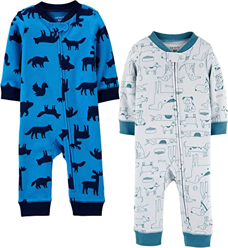 Baby Boy Carters 2 Rompers Pajamas Pj's Rockets Spaceships NWT 18 Months Summer