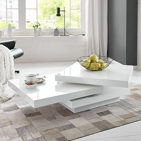 Moebella Couchtisch Cube Hochglanz Lack Weiss Loungetisch Beistelltisch Schwenkbar Drehbar