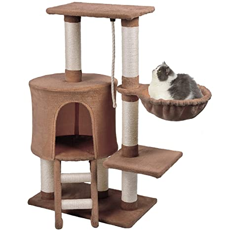 Wellhome Arbol para Gatos Escalador para Gatos Sisal Cubierto Rascador para Gatos con Hamaca y Plataforma de Perchas 96cm Marrón