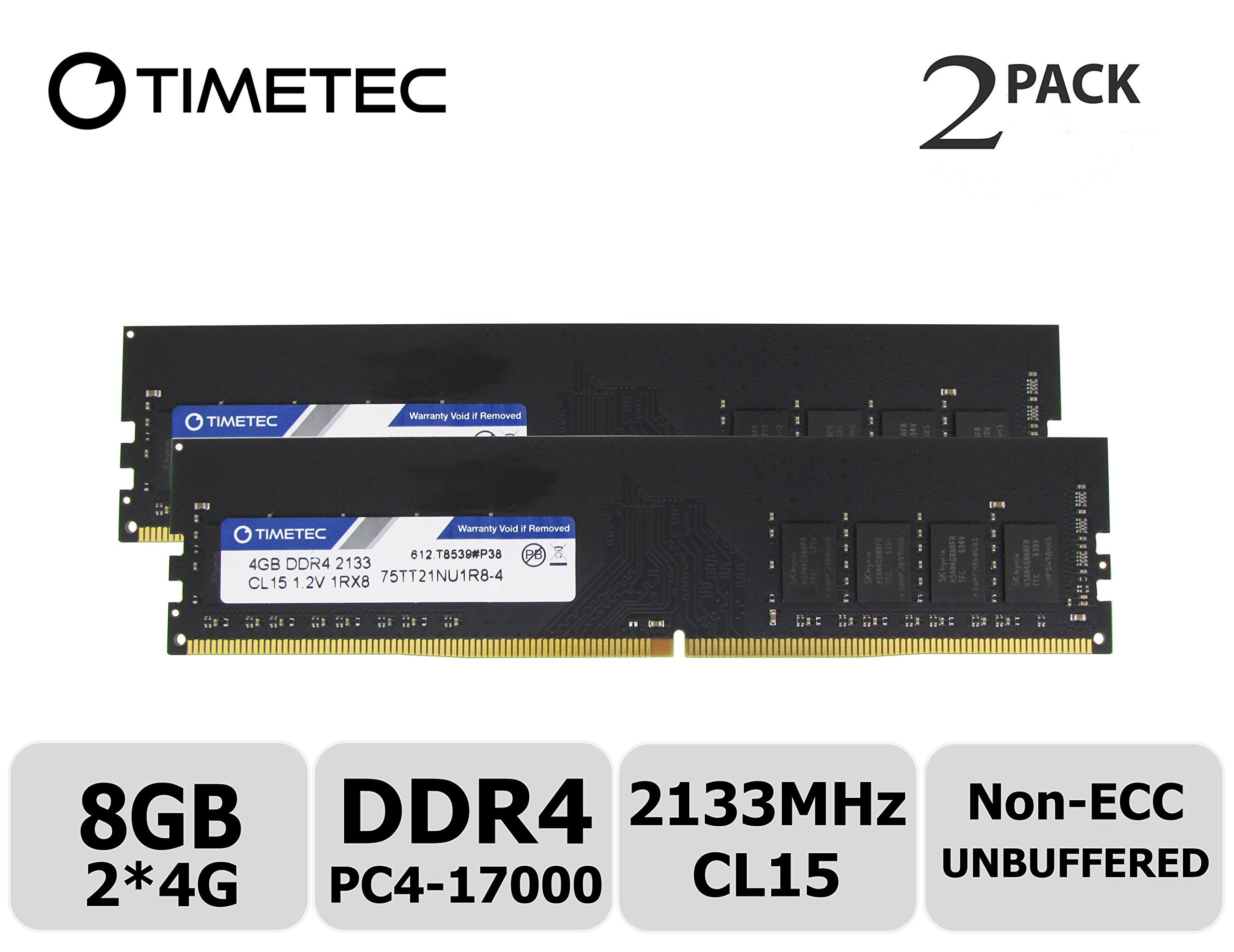 Memoria RAM 8GB Timetec Hynix IC Kit (2x4GB) DDR4 2133MHz PC4-17000 Non ECC Unbuffered 1.2V CL15 1R8 Single Rank 288 Pin