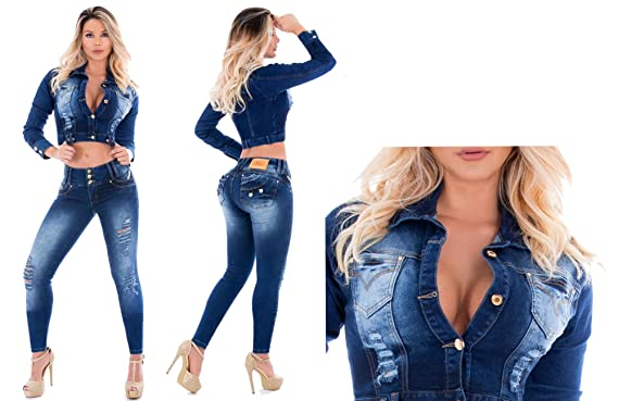 Jeans + Jacket Set Two Pieces Womens Ripped Super Pus Up Jeans Skinny Jeans Slim Denim