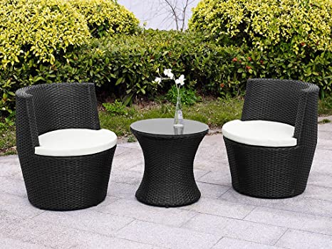 Verona 3 Piece Rattan Garden Patio Furniture Vase Dining Eating Picnic  Table Set U0026 2 Chair Stackable Neat Tidy Beautiful Contemporary Outdoor  Living Garden ...