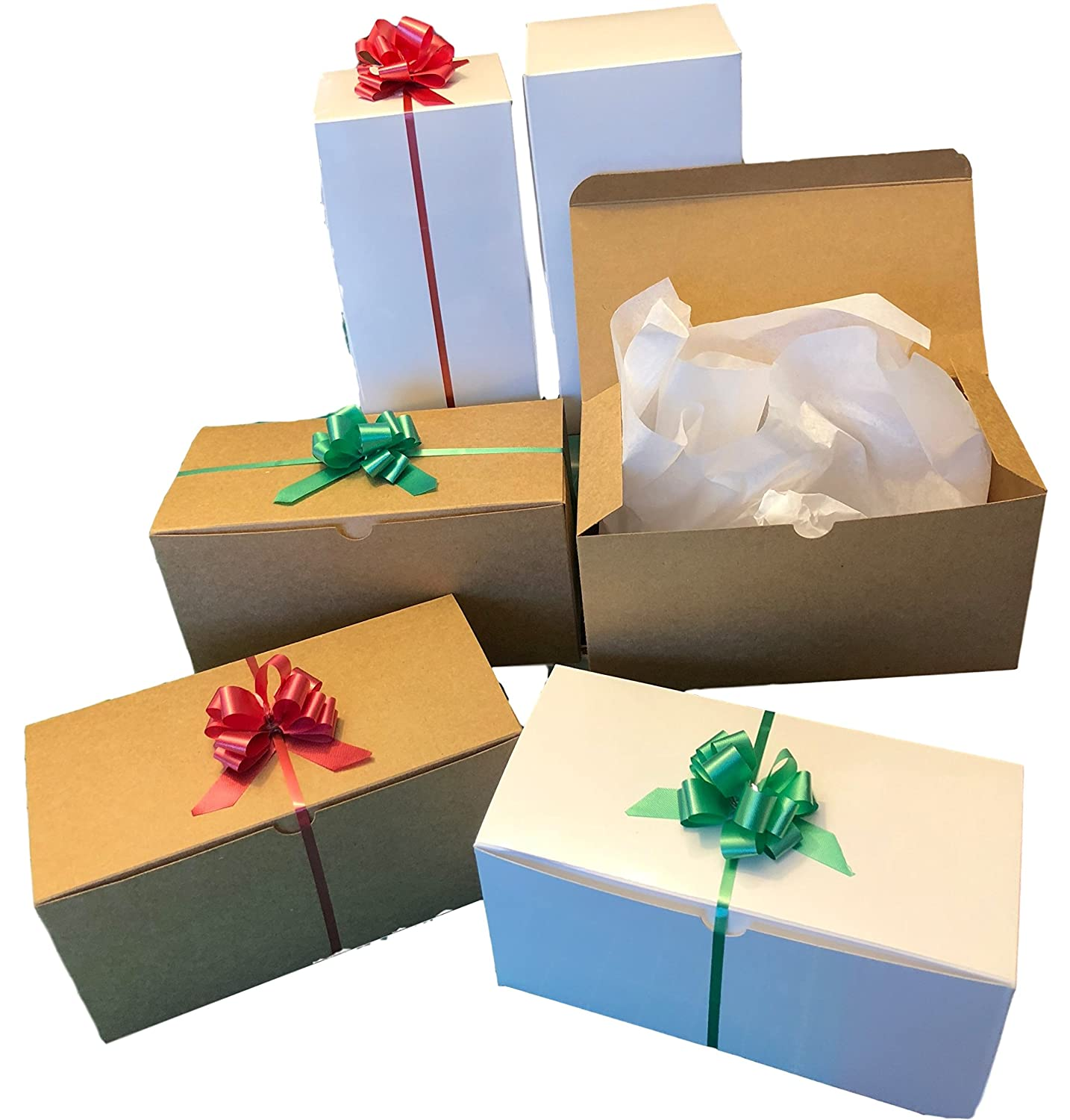 Amazon.com Set of 10 White and Kraft Gift Boxes (9x4.5x4.5 ) + 10 Pull Bows + Tissue Paper. Perfect for Wrapping Christmas Presents Health u0026 Personal Care  sc 1 st  Amazon.com & Amazon.com: Set of 10 White and Kraft Gift Boxes (9x4.5x4.5