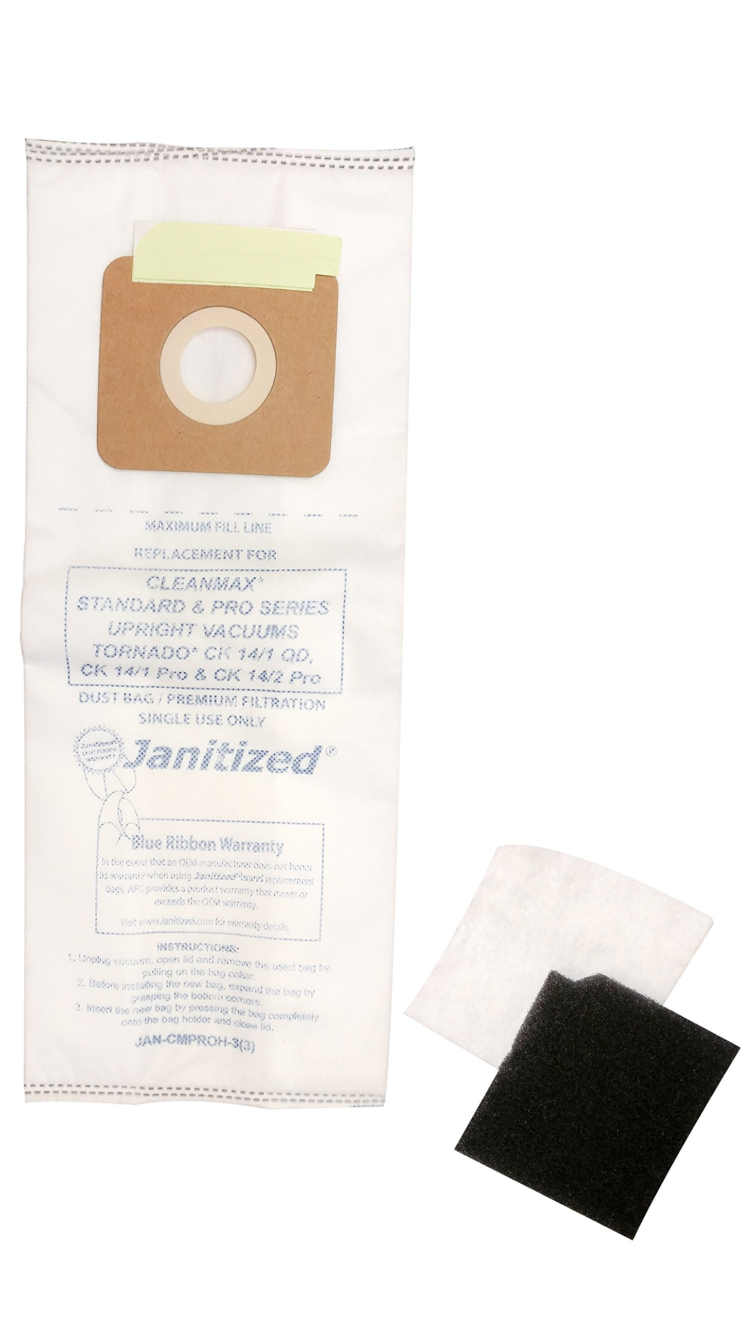 Janitized JAN-CMPROH-3(3) Paper High Efficiency Premium Replacement Commercial Vacuum Bag for CleanMax Standard & Pro Series, Tornado CK 14 QD & Pro Vacuum Cleaners (12-3 Packs) by Janitized