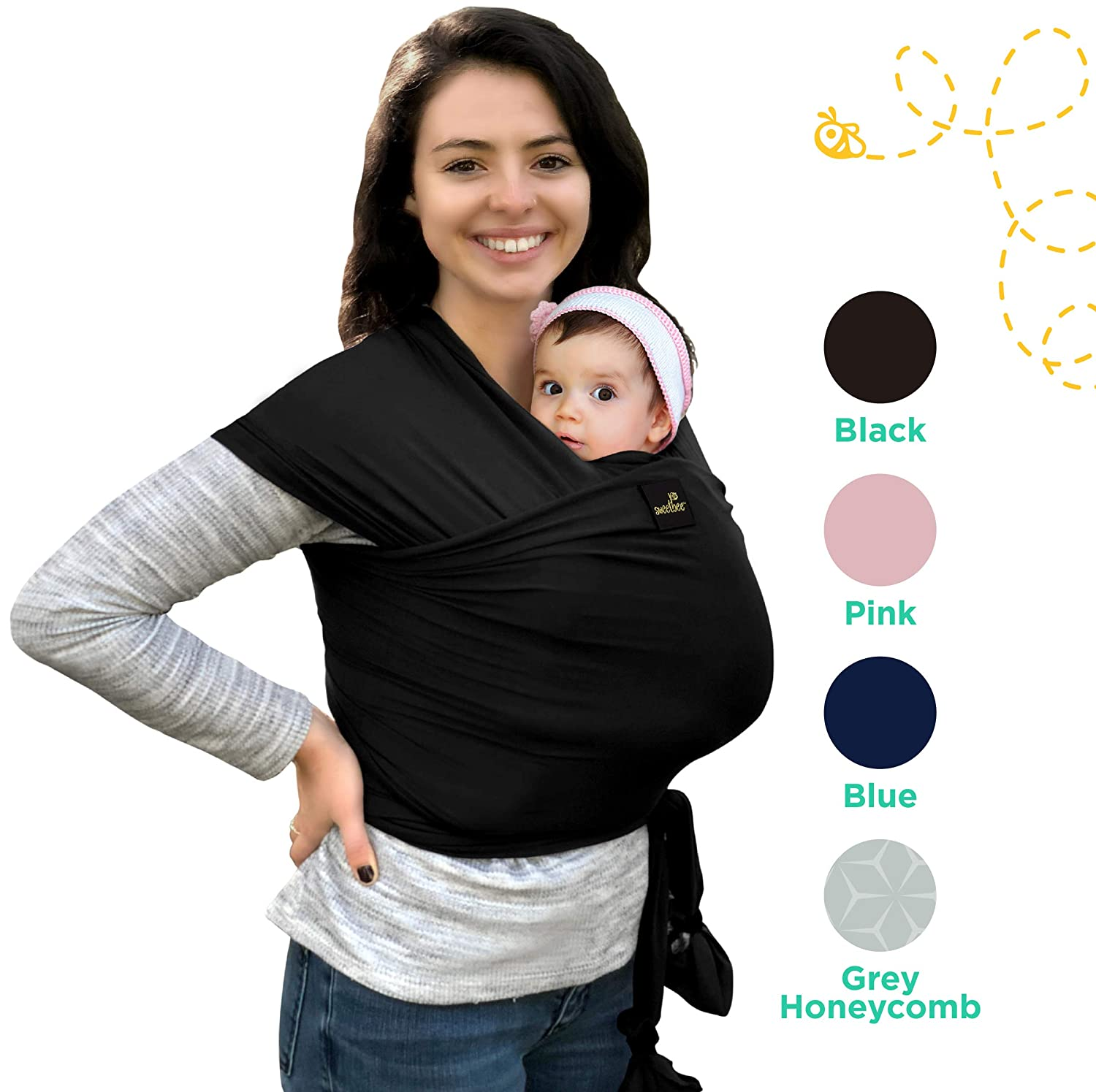 Lightweight Natural Breathable My Honey Wrap Baby Carrier Sling For Infants Babies 4 Color Options
