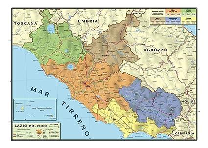 Il Lazio Cartina Geografica.Carta Geografica Murale Regionale Lazio 100x140 Bifacciale