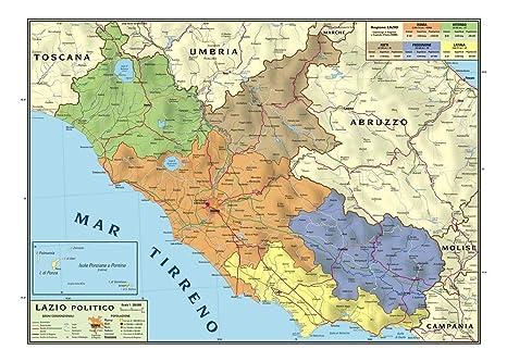 Cartina Lazio Politica.Carta Geografica Murale Regionale Lazio 100x140 Bifacciale