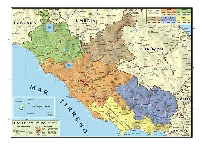 Cartina Idrografica Lazio.Carta Geografica Murale Regionale Lazio 100x140 Bifacciale Fisica