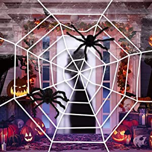 jollylife Fake Spider Web White Halloween Decorations,with 2 Black Big Spiders- Outdoor Yard Haunted House Party Decor Supplies 8.2ft