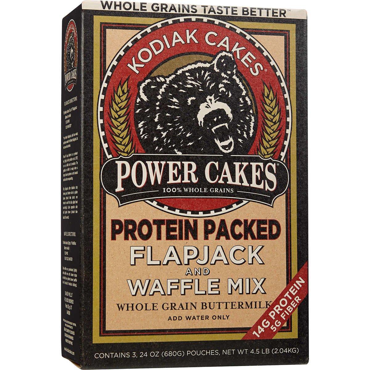 Kodiak Cakes Power Cakes: Flapjack and Waffle Mix Whole Grain Buttermilk Net Wt. 4.5 lb