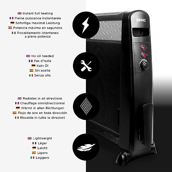 Duronic HV051 Calefactor Radiador Eléctrico con Panel de Mica de 1500 W y Termostato Paneles Calefactores Libre De Aceite/Se Calienta en 1 Minuto: ...