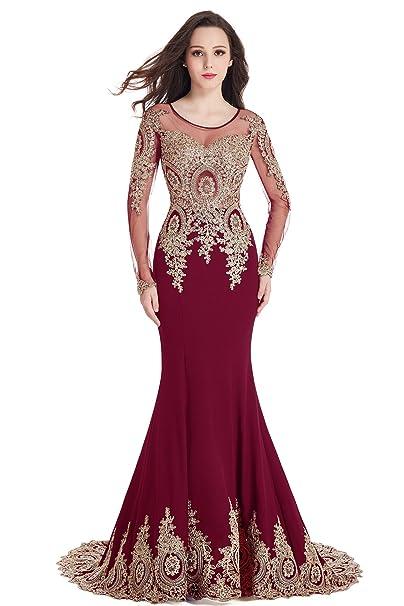 Babyonlinedress Vestido rojo de ceremonia ajustado y elástico con bordado refinado