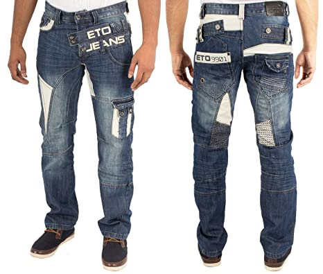 MENS NEW ETO EM441 STRAIGHT LEG BLUE JEANS LATEST FUNKY DESIGN 28 ...