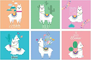 GC Llama Lovers Room Decor   Set of 6 Unique Posters   Unframed 11x11 Wall Art Pictures   Alpaca Poster Wall Decor   Funny Llama Gifts for Room Decorations   Alpacas Lover Ornament for Boys & Girls