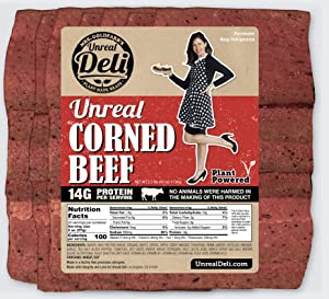 Unreal Corned Beef, Thin-sliced, Plant-based Corned Beef, 100% Vegan (1 Pound)