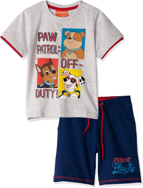 100/% cotone da 2 a 8 anni qualit/à premium Set ufficiale Paw Patrol Nickelodeon per ragazzi maglietta e pantaloncini a maniche corte