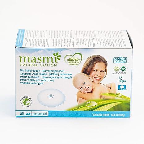 Discos de lactancia 100% algodón Masmi, 30 unidades: Amazon.es: Bebé