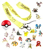 7 Pokemon Pins with Free Pikachu Lanyard Keychain