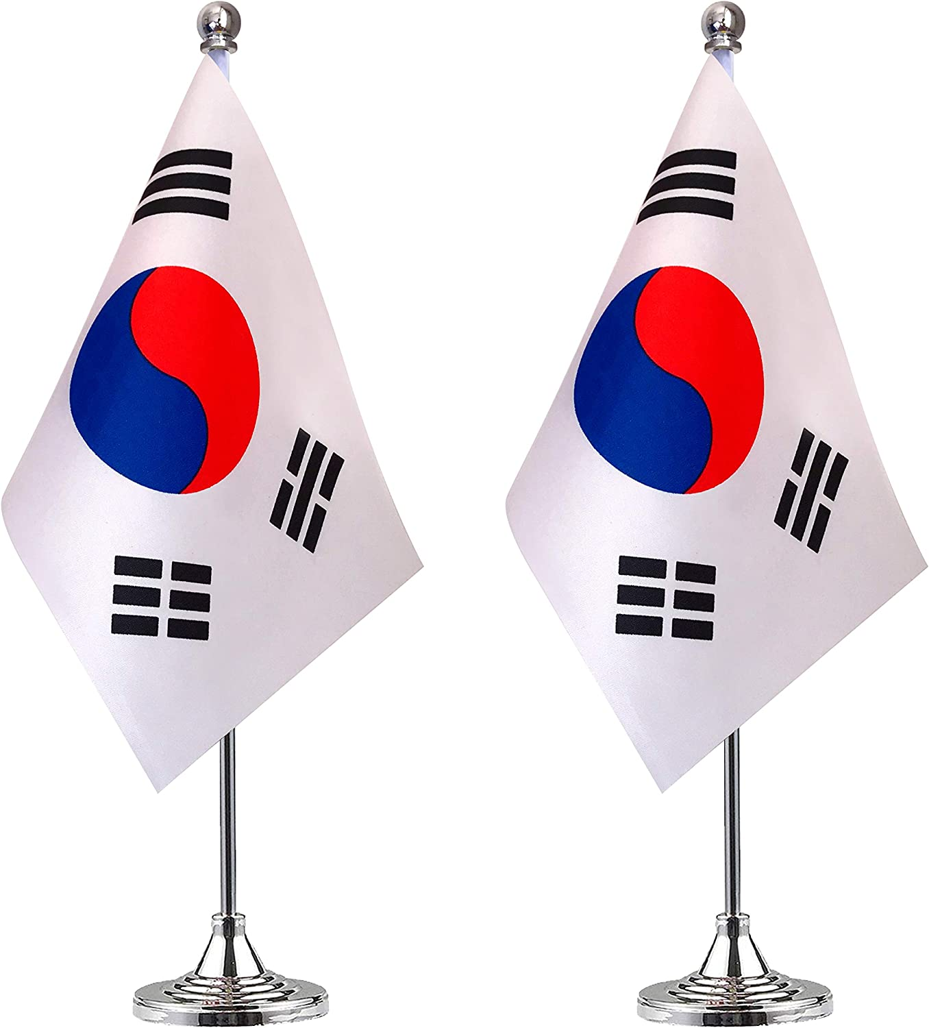 WEITBF South Korea Desk Flag Small Mini Korean Office Table Flag with Stand Base,Korean Themed Party Decorations Celebration Event,2 Pack
