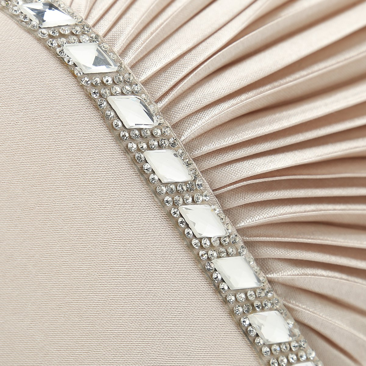 Charming Tailor Evening Handbag Crystal Embellished and Pleated Satin Clutch (Champagne) by Charming Tailor (Image #5)
