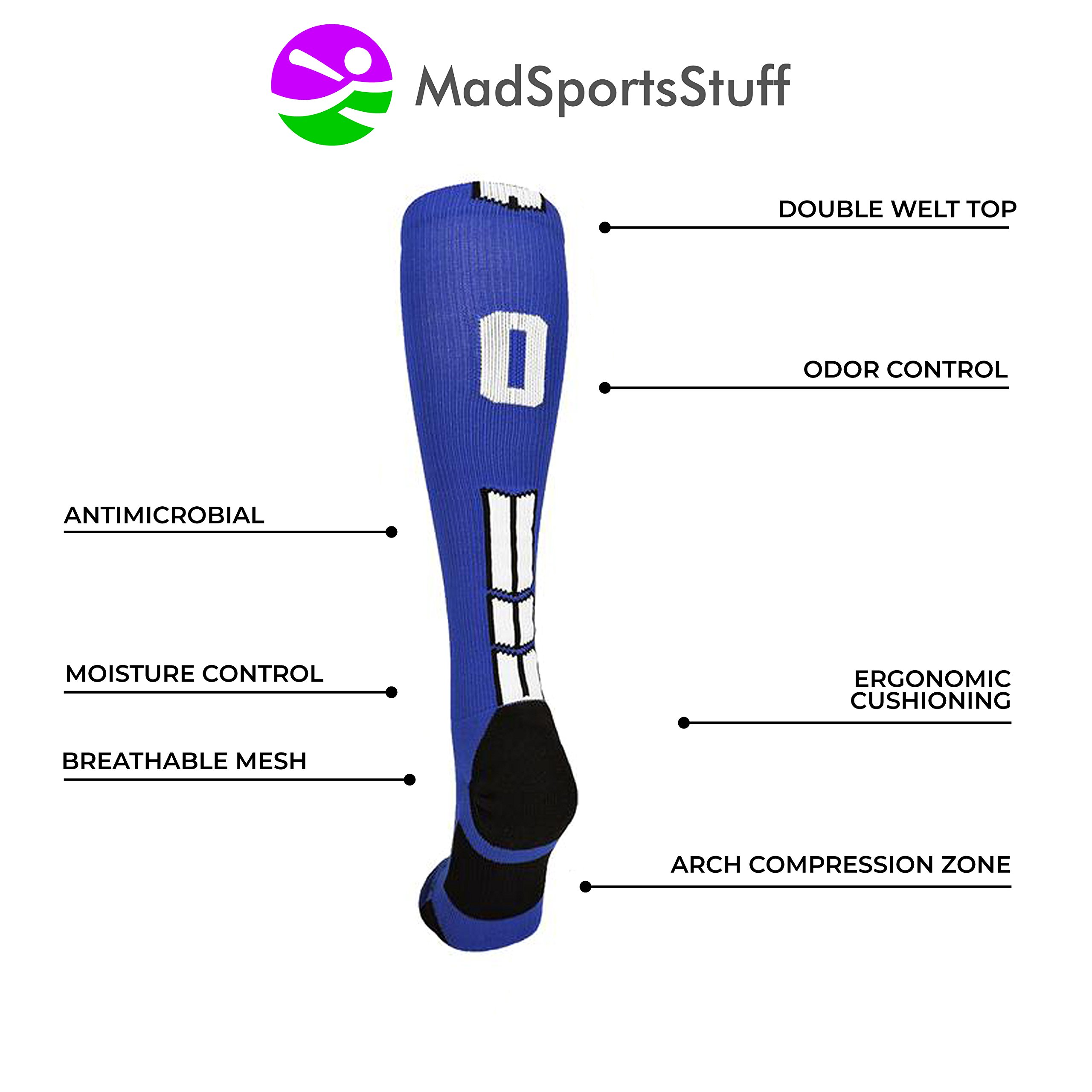 MadSportsStuff Royal/White Player Id Over The Calf Number Socks (#47, Large) by MadSportsStuff (Image #4)