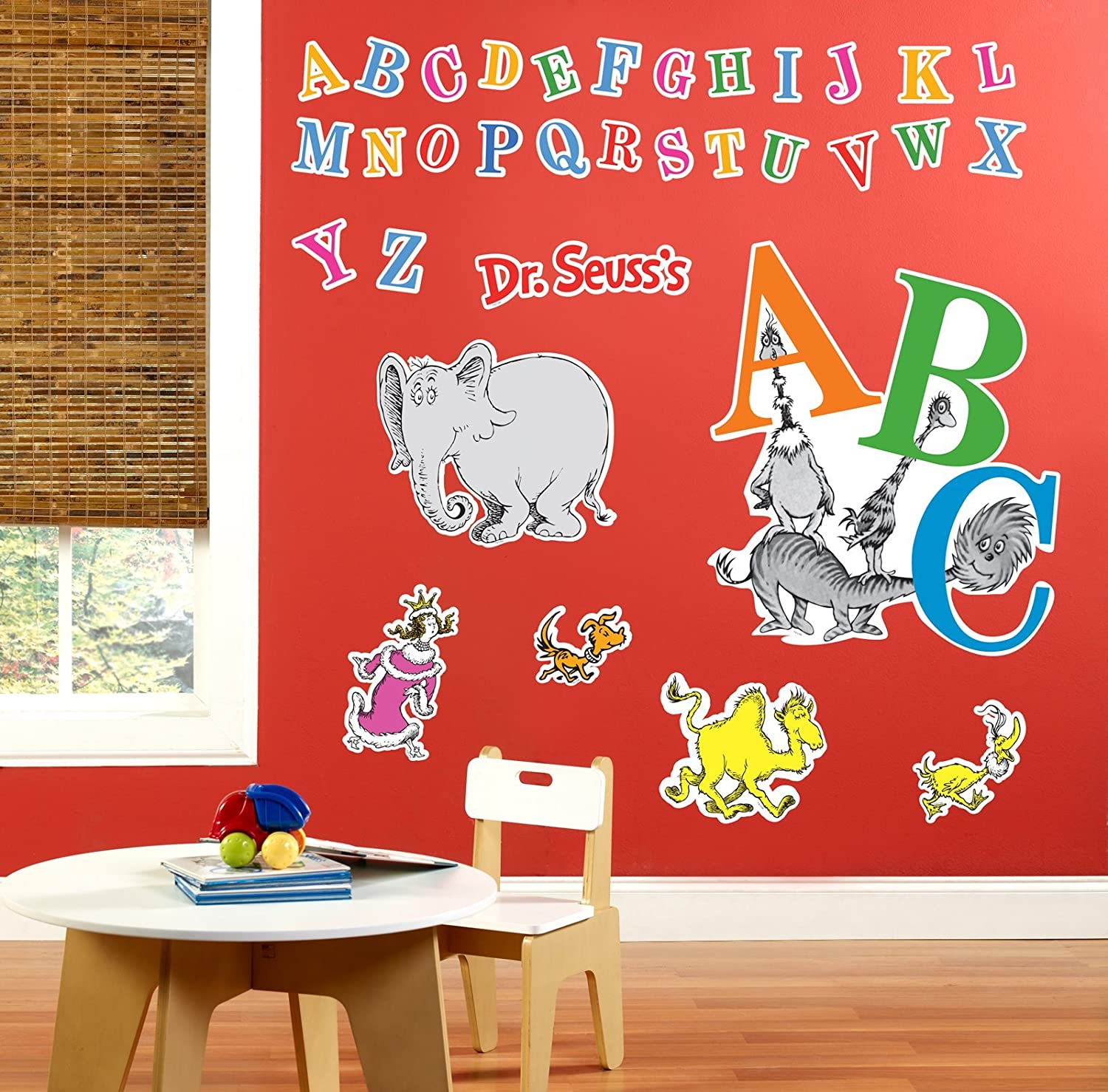 amazon com dr seuss abc room decor giant wall decals toys games