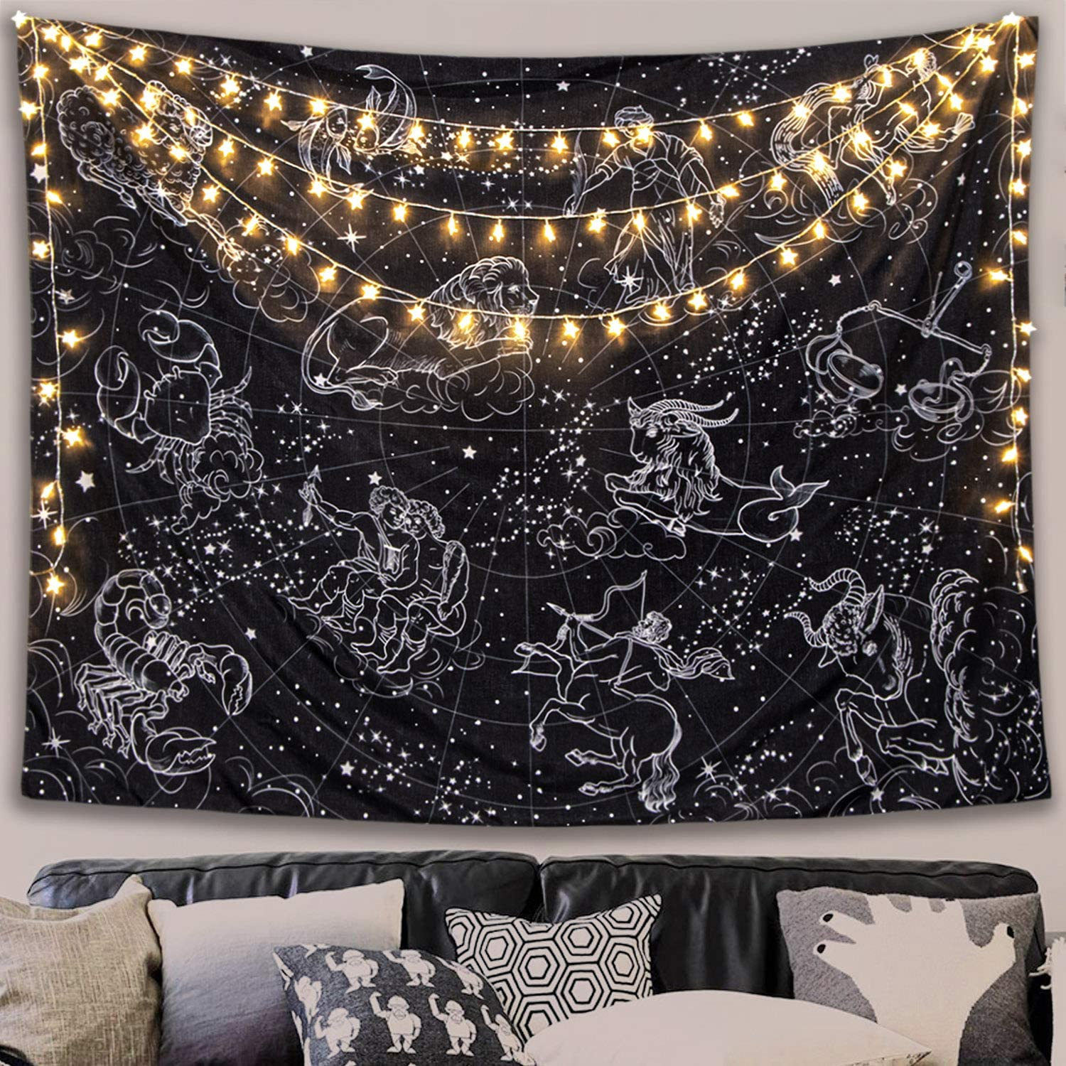 Fowocu Constellation Stars Tapestry Wall Hanging, Black and White Tapestry, Aesthetic Wall Tapestry for Bedroom Living Room Dorm (Black, L-60'' × 80'')