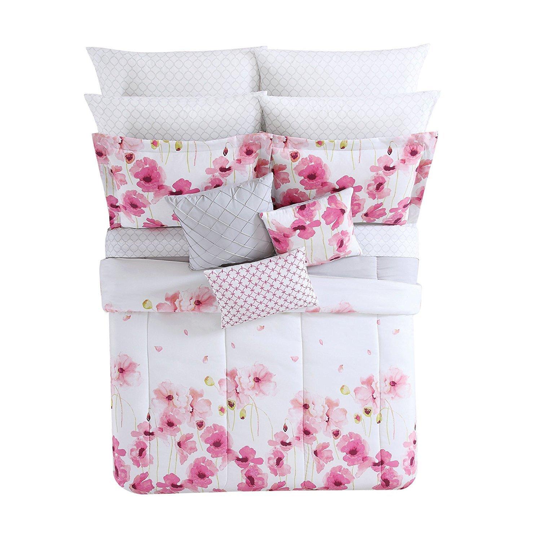 2pc女の子ピンクホワイト花柄テーマ掛け布団キングセット、ライトホットフクシア、ガーリーシックDaisy花テーマパターン、Summersガーデンフラワー寝具 B073CHFZ12