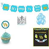 Untumble Boy's Half Birthday Decorations, Boy Half-Birthday Photo Shoot Pack, Blue Six Month Blue Birthday Party kit, 6 Month boy Baby Decor kit
