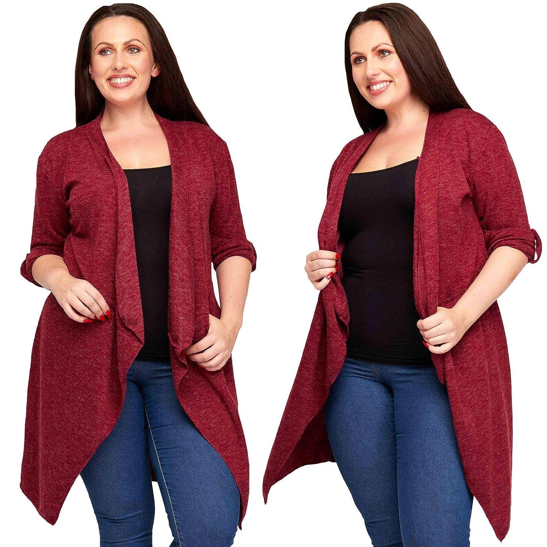 64eea0cca5 Love My Fashions® Womens Cardigan Ladies Blazer Open Coat Marl Two Pocket  Drape Split Outwear Casual Cotton Button Cuff Long Sleeves Loose Tunic  Pullover ...