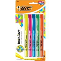 Bic BLP51W-Ast Brite Liner Highlighter Assorted Chisel Tip, 5-pack
