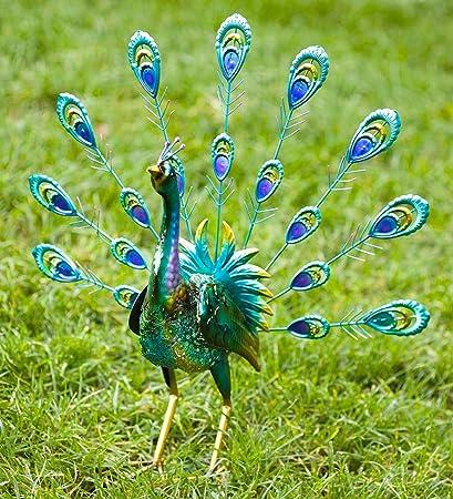 Delicieux Amazon.com : Peacock Metal Outdoor Garden Accent Sculpture With Feathers  Up, 9.75 L X 6 W X 17.75 H : Garden U0026 Outdoor