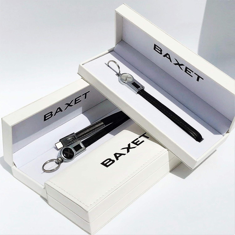 BAXET Usefulness - Llavero de Piel, Cable de Carga USB, Llavero Negro de Piel auténtica con Tres Tipos de Conector de micrófono, Tipo teléfono, Idea Regalo tecnológico