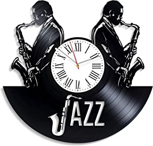 Kovides Decor for Living Room Jazz Art Minimalist Classical Music Vinyl Clock Musical Genre Home Decor Birthday Gift for Fan Jazz Music Wall Clock Xmas Gift for Musician Vintage Vinyl Record Clock