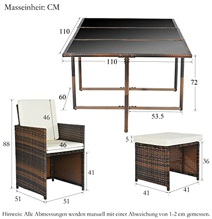 Amazonde Merax Poly Rattan Lounge Gartenmöbel Set Sitzgruppe