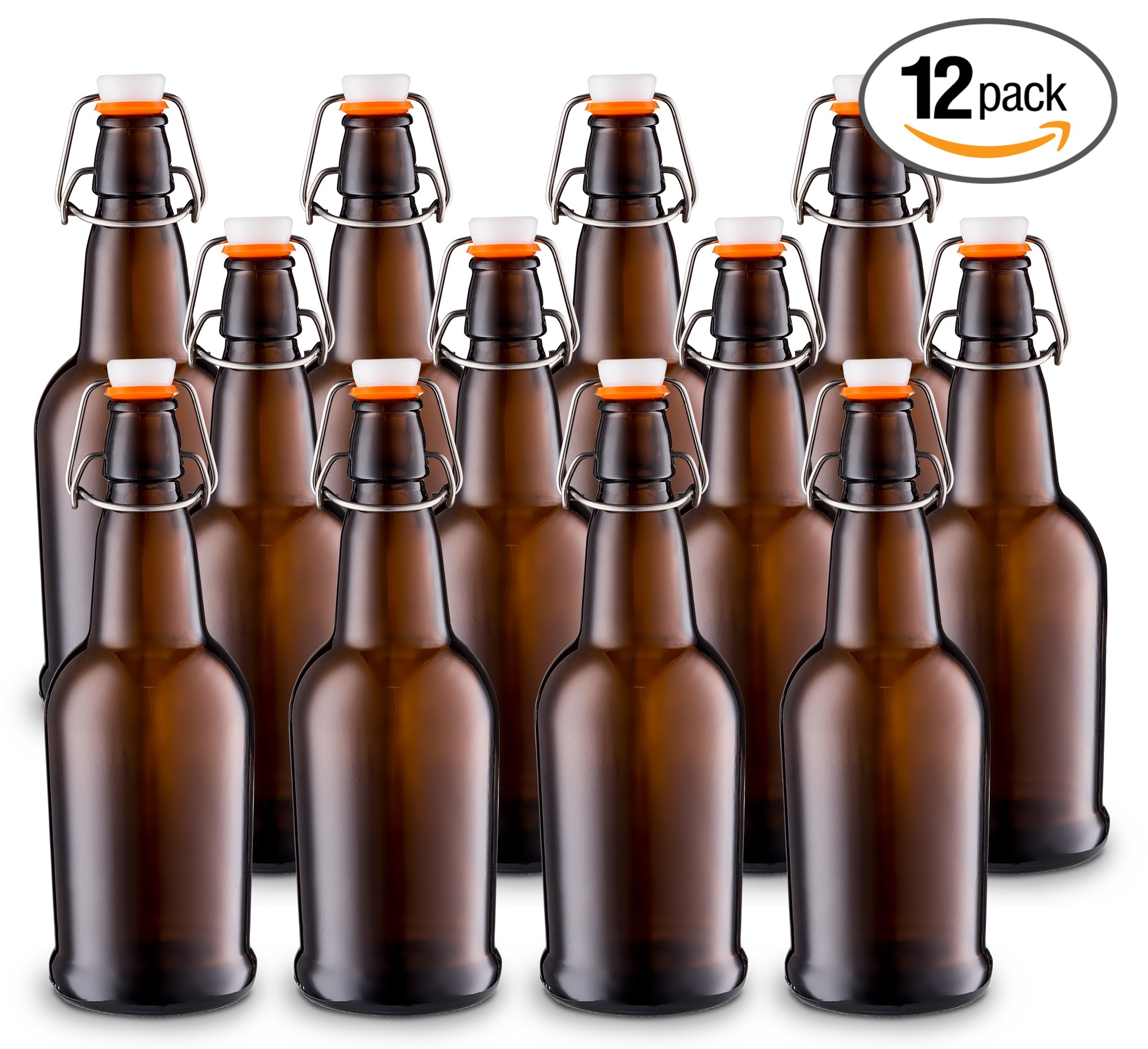 Home Brewing Glass Beer Bottle with Easy Wire Swing Cap & Airtight Rubber Seal -Amber- 16oz - Case of 12 - by Tiabo by Tiabo (Image #1)