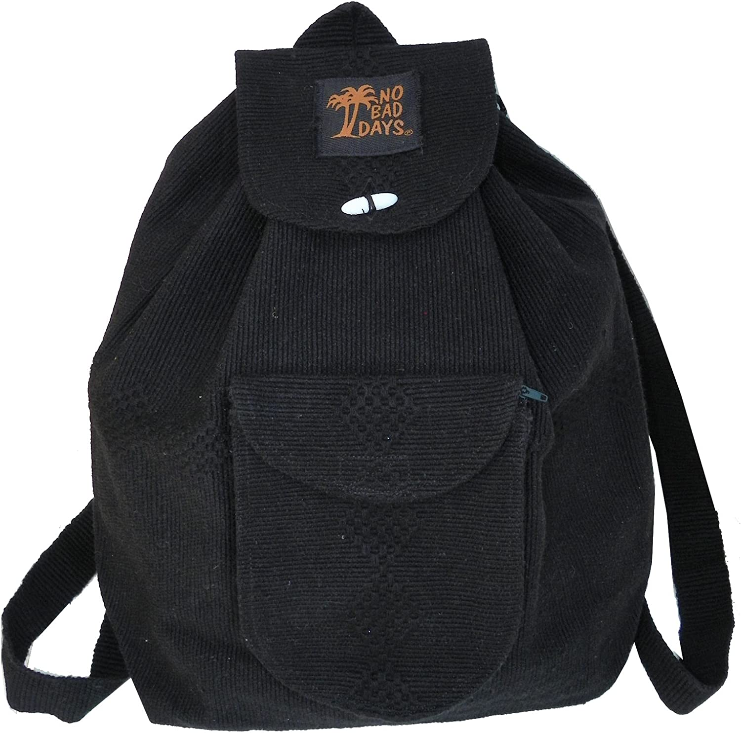 No Bad Days Baja Backpack Ethnic Woven Mexican Bag – Black – Medium