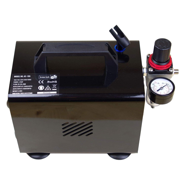Airbrush-City Juego Completo de aerógrafo Mini compresor AS18B Pistola de pulverización ABC-180 Manguera: Amazon.es: Bricolaje y herramientas