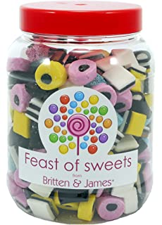 Liquorice Allsorts 1.4Kg. Big Feast of Sweets jar by Britten & James. Dulces