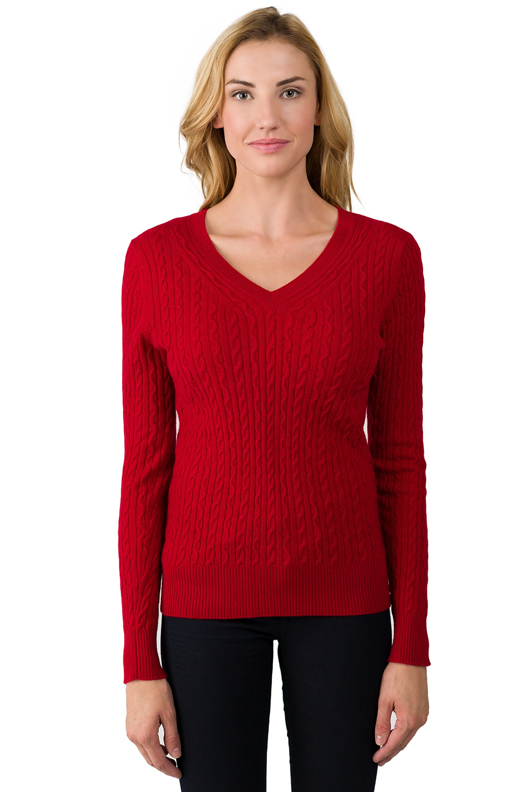 J CASHMERE Women's 100% Cashmere Long Sleeve Pullover Cable-knit V-neck Sweater Red Large