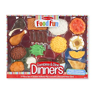 Melissa & Doug Combine & Dine Dinners (Pretend Play, Durable, Realistic Food Pieces, Dishwasher-Safe, 17-Piece Set, Great Gift for Girls and Boys - Best for 2, 3, 4, 5 Year Olds and Up): Toy: Toys & Games