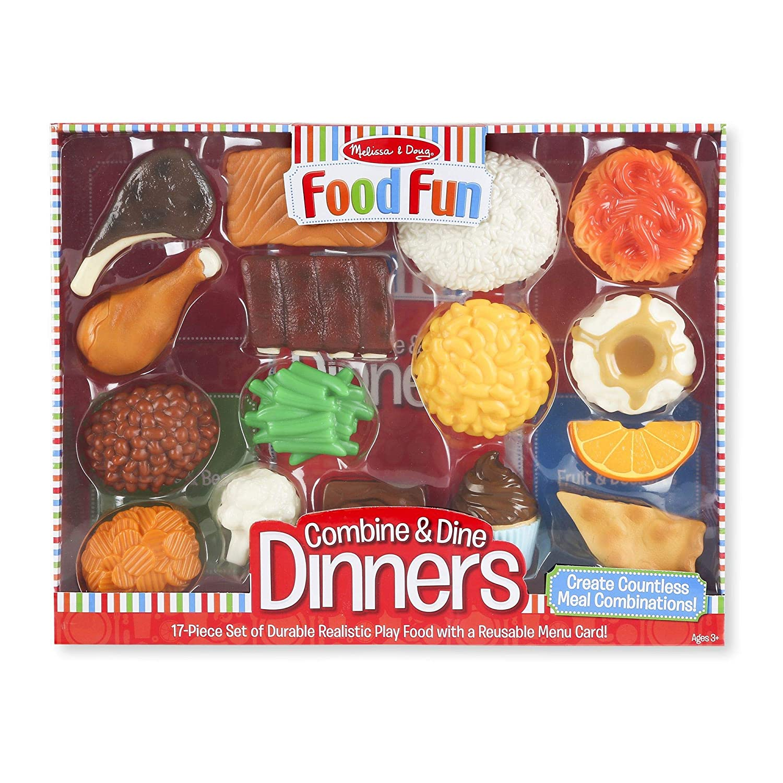 Melissa Doug Food Fun Combine Dine Dinner Set Red