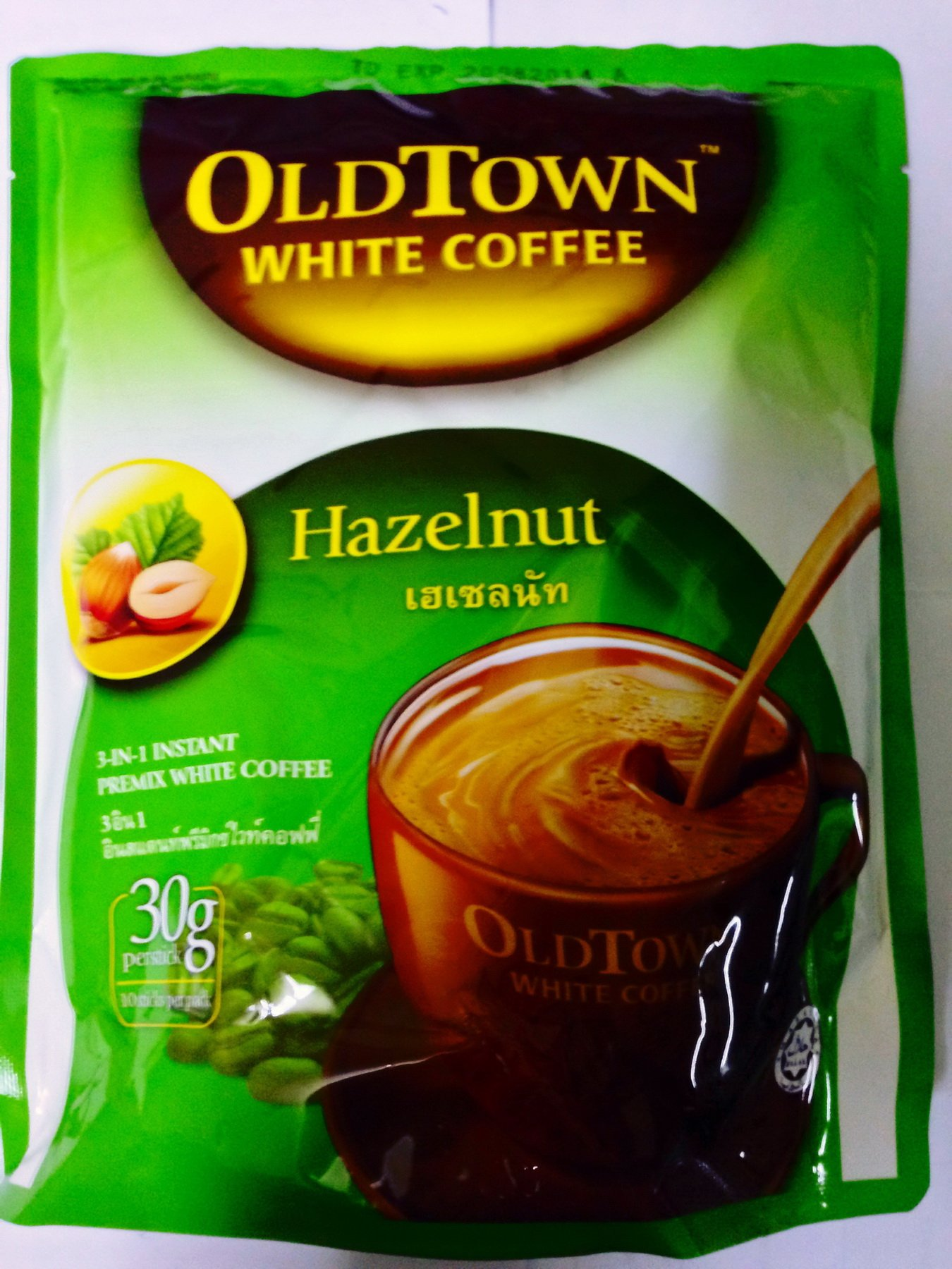 Old Town Instant 3 in 1 Premix White Coffee Hazelnut, 300g(30gx10sticks)