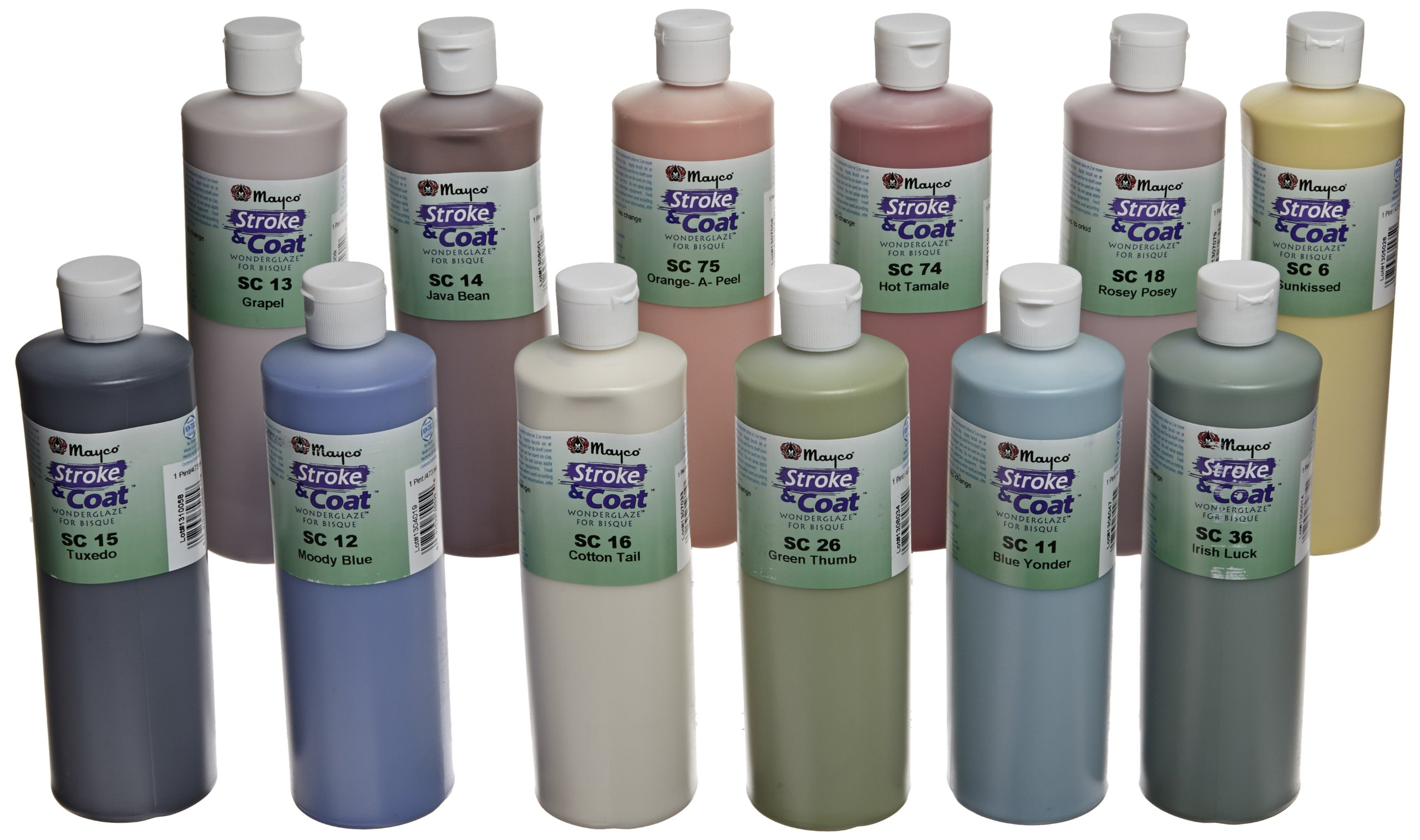 Mayco Stroke and Coat Wonderglaze for Bisque Set A - 1 Pint - Set of 12 - Assorted Colors