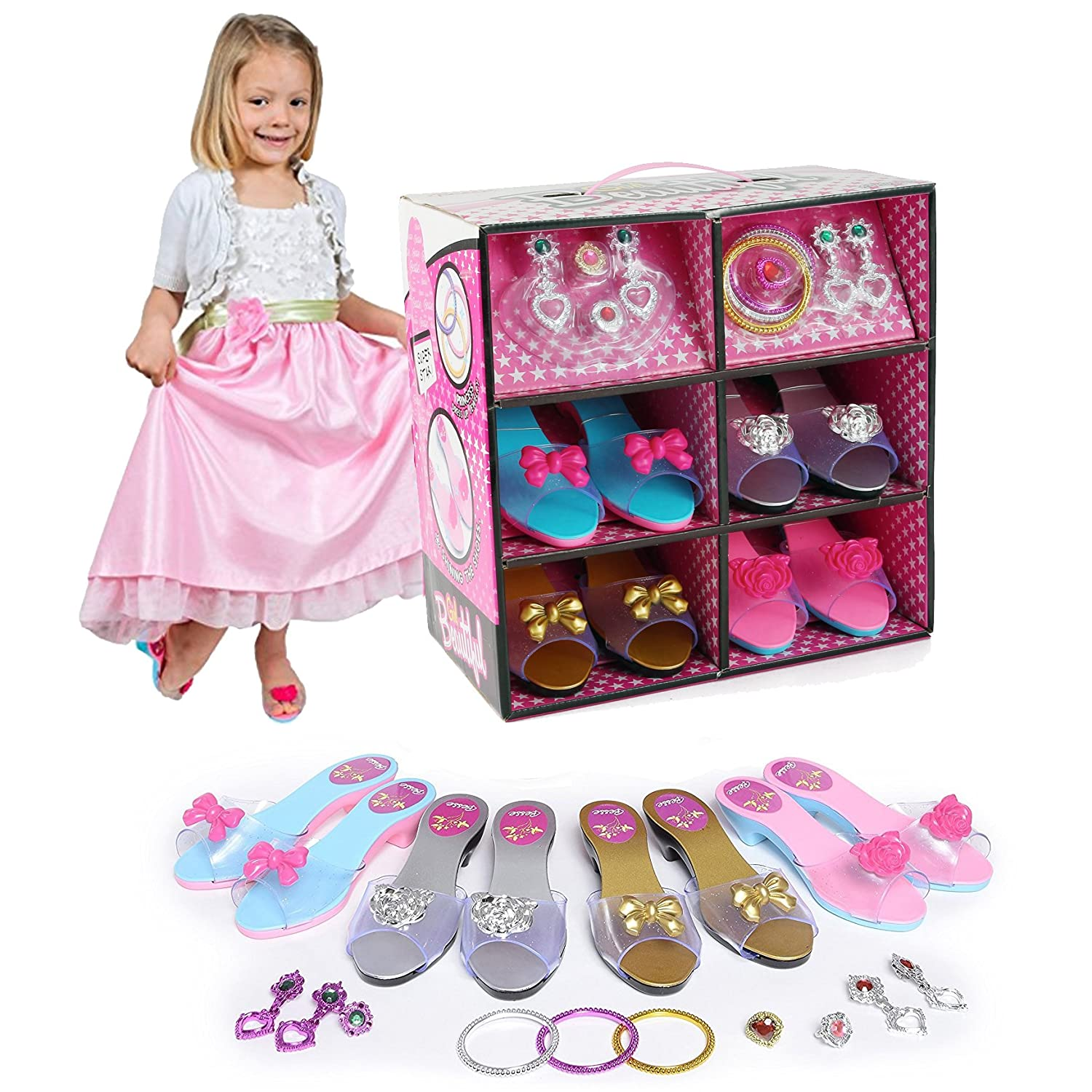 Princess Dress Up & Play Shoe and Jewelry Boutique (Includes 4 Pairs of Shoes + Fashion Accessories) Liberty Imports