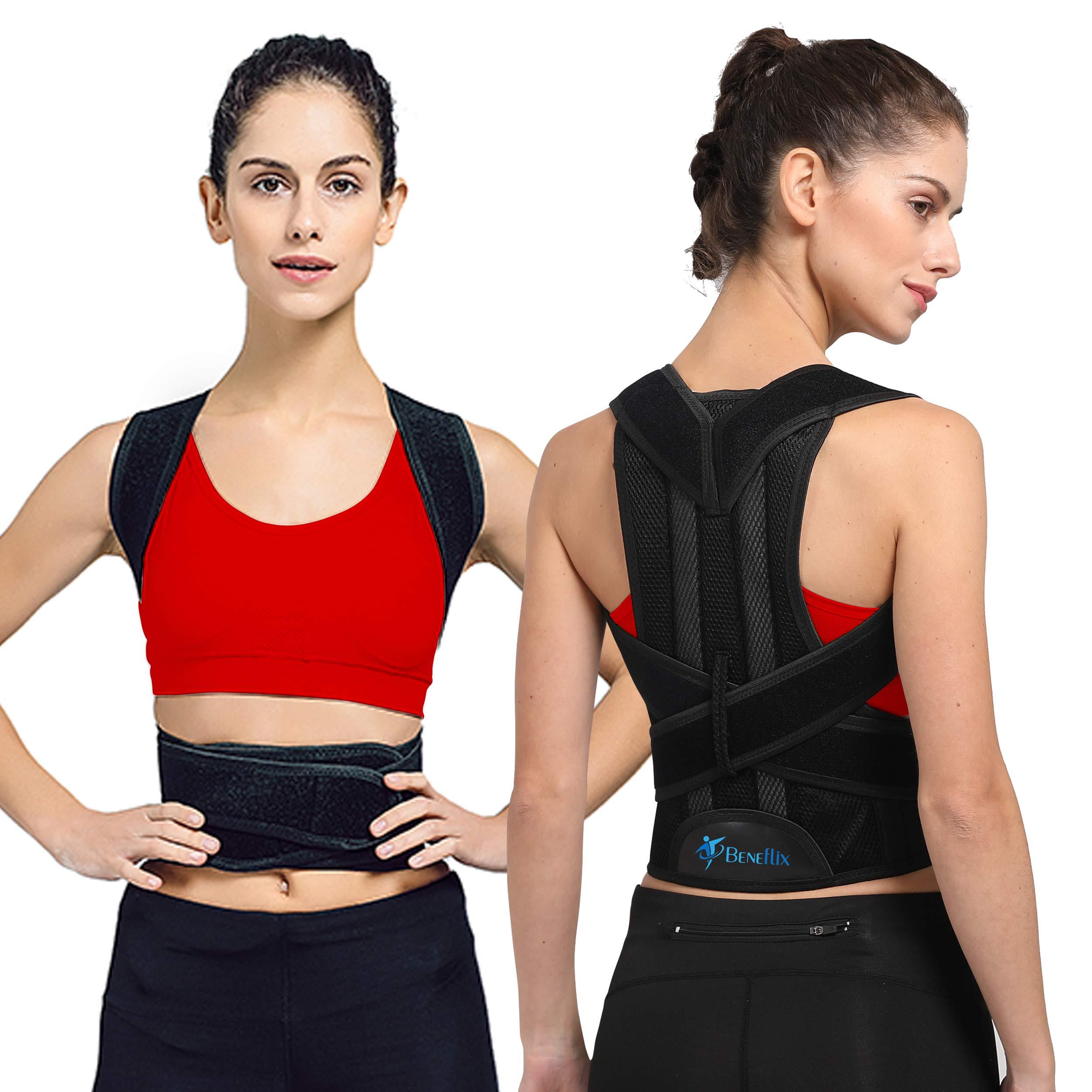 Breathable Back Support Brace - Back Support Vest for Women and Men - Straighten and Correct Posture - Upper Shoulder Corrector - Adjustable Posture Corrector (Waist 23.6-27.5 in)