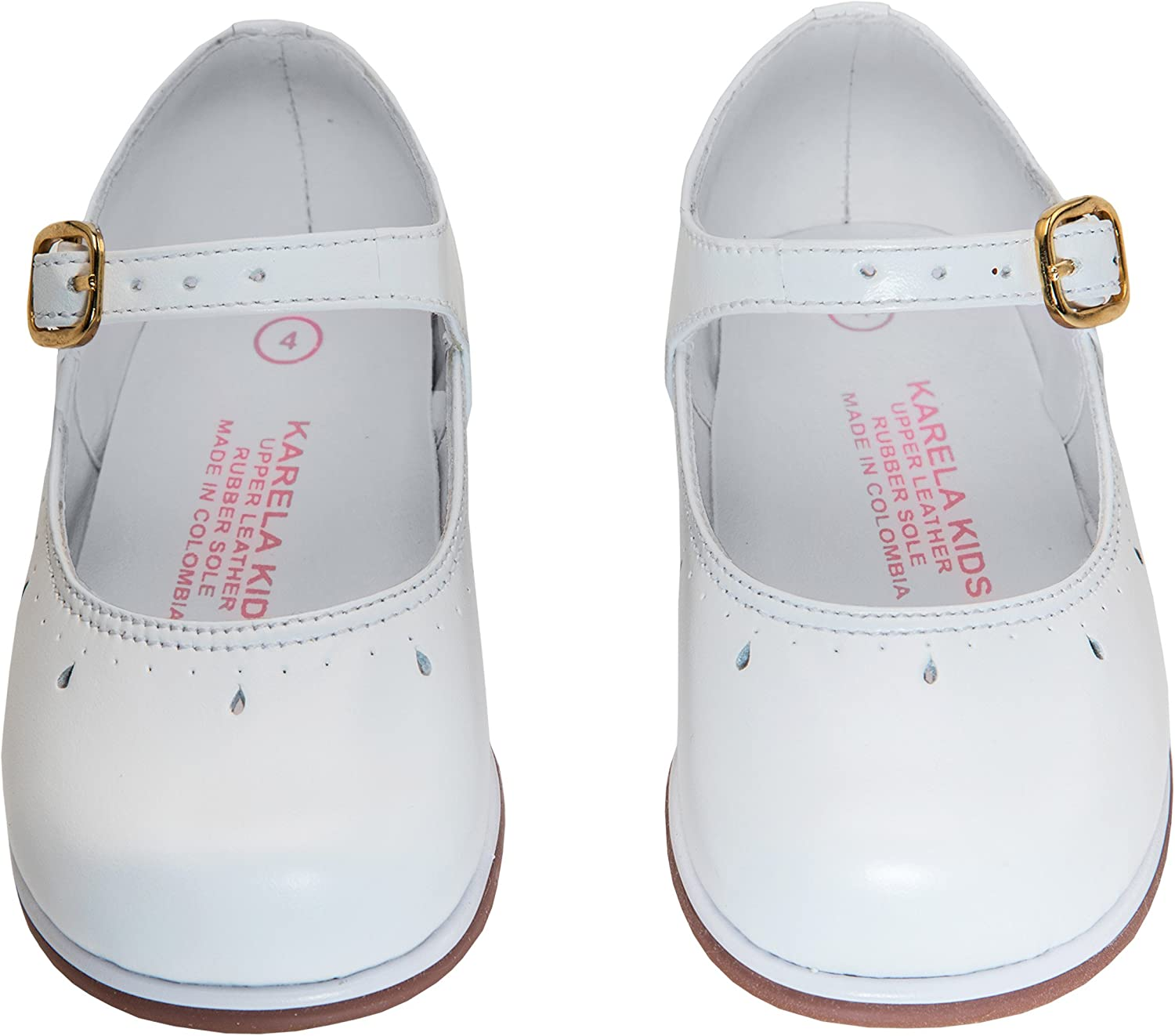 5 Karela Toddler Girls Shoes White Leather Mary Jane Princess Flat with Anti Skid Rubber Sole