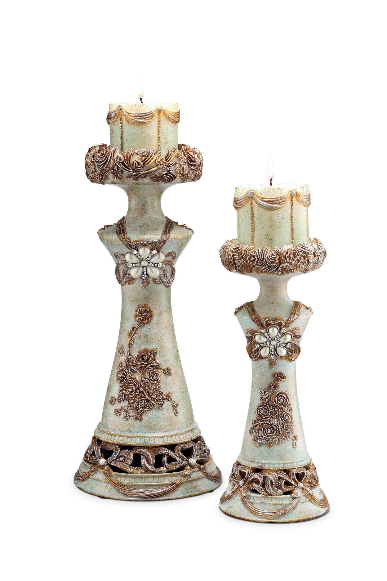 ORE International K-4203C Vintage Rose Candleholder, Set of 2